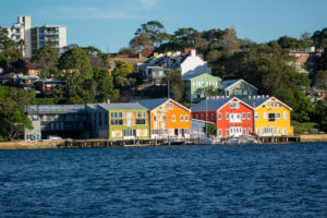 Sydney Australia NSW New South Wales Harbour harbor water East Balmain waterfront homes houses